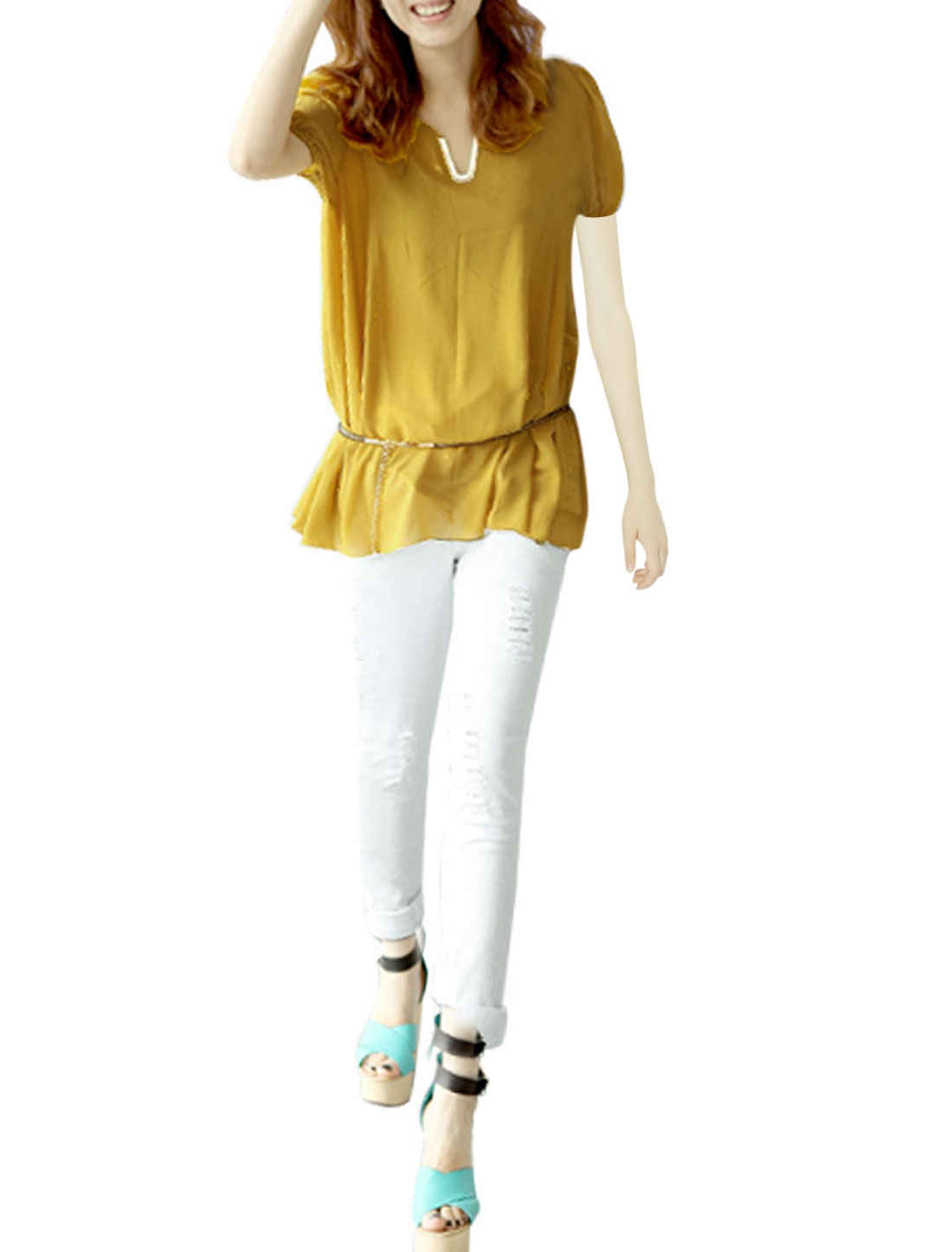 Woman-Semi-Sheer-Half-Length-Sleeve-Soft-Lining-Layer-Top-Shirt