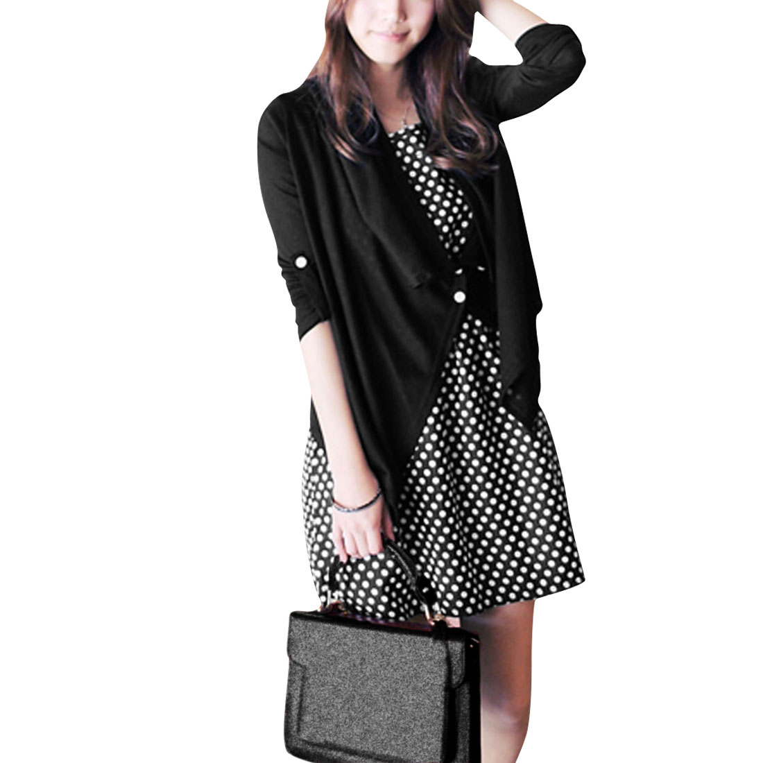 Women-Elastic-Waist-Pullover-Dress-w-Convertible-Sleeves-Coat