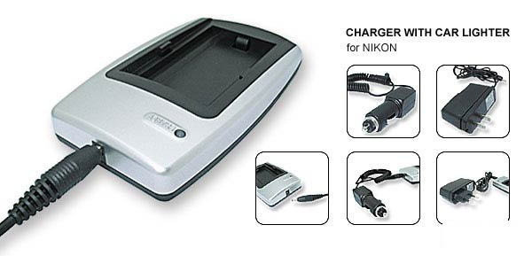 EU US Plug 100-240V Camera Battery Charger for Nikon EN-EL1 White