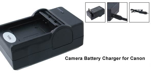 Camera Battery Charger for Canon NB4L Black with Car Charger Cable