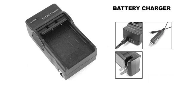 US Plug Camera Li ion Battery Charger for Nikon Coolpix EN-EL1 Black w Car Charger Cable