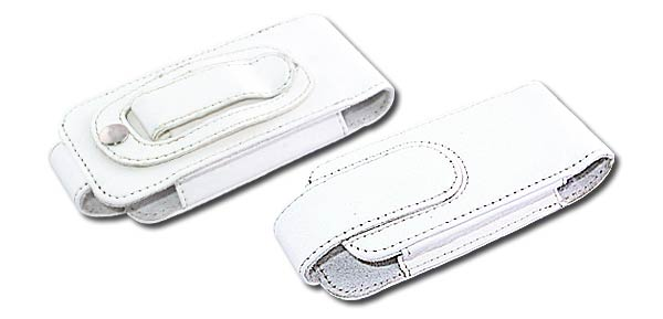 Vertical Leather Case w belt clip For Motorola L7 White