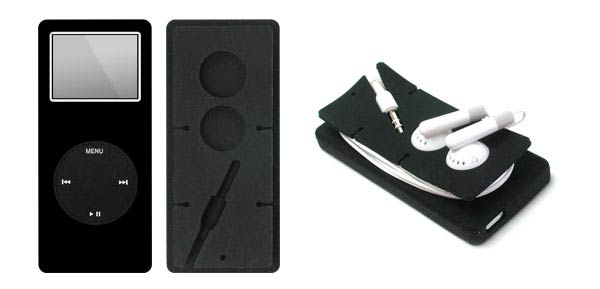Silicone Skin for iPod Nano 1G with Headphone Wire Wrap - Black