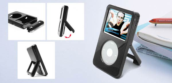 Plastic Case with Stand 30G for iPod Video  - Black