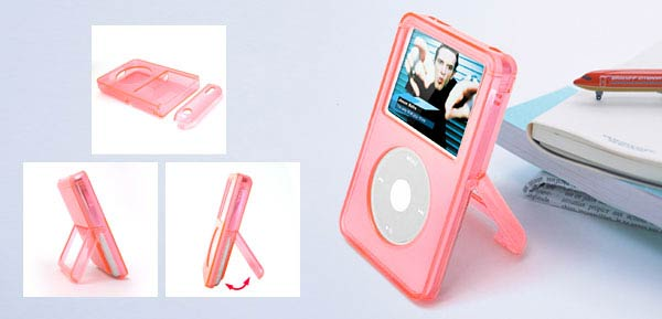 Plastic Case with Stand 30G - Clear Pink for iPod Video