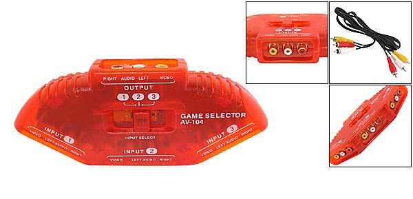 3 Port RCA AV DVD Audio Video Game Selector Switch - red (Model:AV-104)