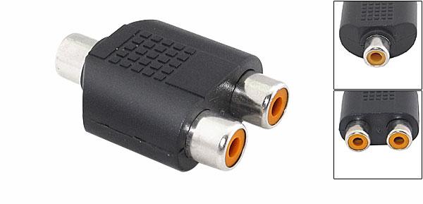 Mini Female RCA Connect to dual RCA Jacks Splitter Adapter