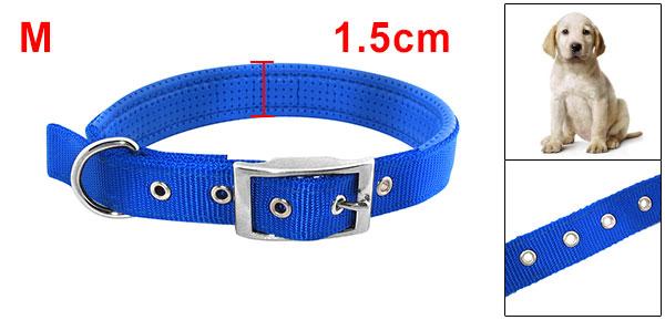 Tropical Blue Soft Leather High Strength Nylon Dog Collar Strap - Medium Size