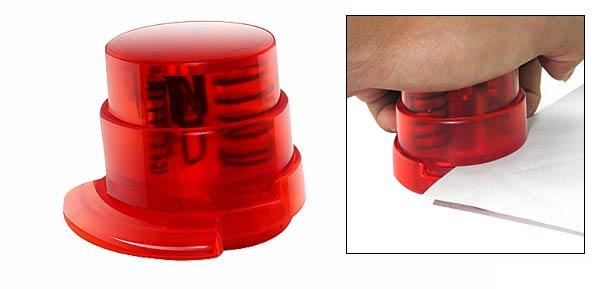 Clear Red Plastic Shell Paperclip Stapless Stapler Binder