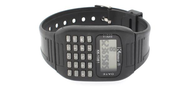 Electronic Wrist Watch & Calculator (KK-1081)- Black Rectangle
