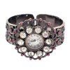 Fashion  Bangle Quartz Watch w/ Crystal Beads  Sunflower Shape Sooty & Pink+Clear