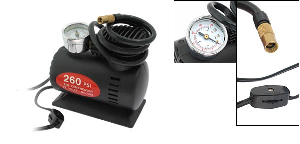 12V DC MINI AIR COMPRESSOR 60PSI (801) Black Power Station