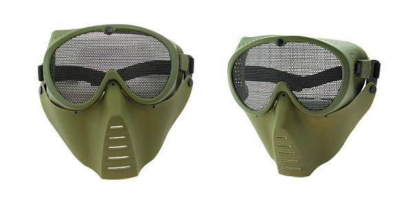 Airsoft Face Guard Mesh Tactical Mask Goggles (ST04) Army Green