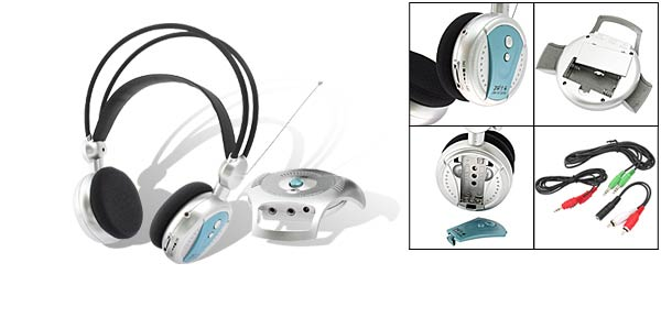 Multi-function Wireless Headphone + Transmitter system (JW-H78FW) Silver & Black