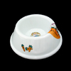 Solid Plastic Pet Dog Cat Bowl Feeder- White