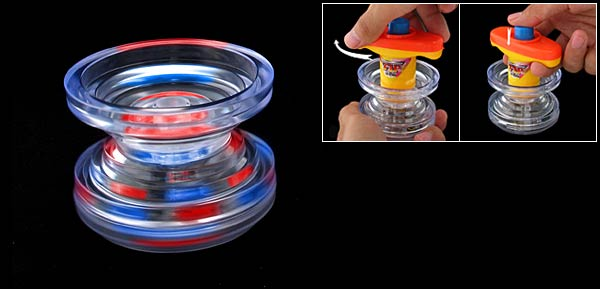 Fast Spinning Flash Light Peg-Top Wind Up Action - red/yellow/cl