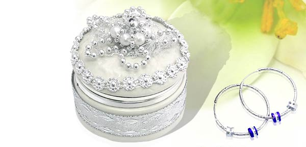 Exquisite Porcelain Treasure Jewelry Trinket  Box - Round box w/ silver beads flower***/