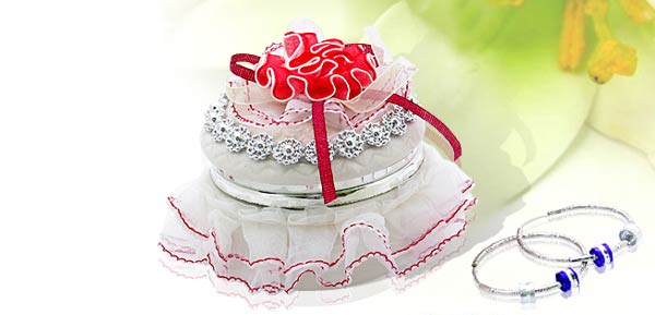 Exquisite  Porcelain Treasure Jewelry Trinket  Box - Round box w/ cloth flower***/