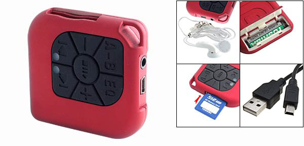 SD/MMC Card Reader USB MP3 Player - Fire Red