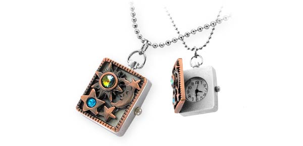 Necklace Jewelry Stainless Quartz Clock Watch - Sun Moon & Star