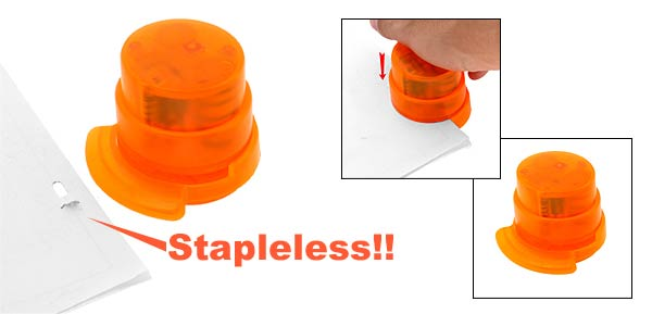 Safe Environmental Friendly Stapless Stapler Paperclip - Orange