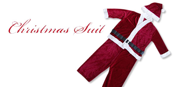 Velvet Children's Christmas X'mas Suit Costume with Santa Claus Hat & Waist Belt - ***/