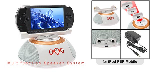 Multifunction Speaker System for iPod Mobile Phone - White round stand