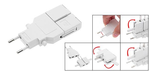 EU US Plug Universal Travel EU US Plug Adapter Plugs AC 250V 6A - White