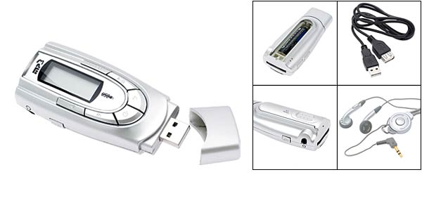 SD MMC Card Reader USB MP3 Player Silver