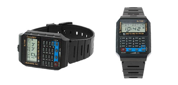 Multifunction Electronic Wristwatch w/ TV Remote Control & Calculator - Black***/
