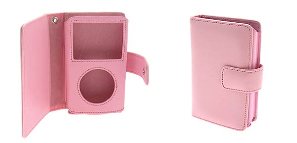 Leather Case Holder for iPod Video 60GB & Credit Card - Pink