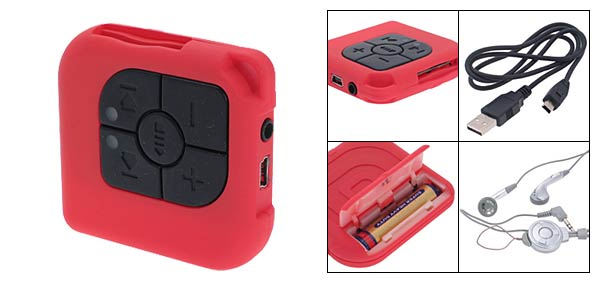 SD MMC Card Reader USB MP3 Player - Light  Red(five key)