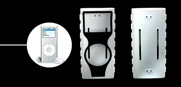 Silicone Skin for New Generation iPod Nano White-black