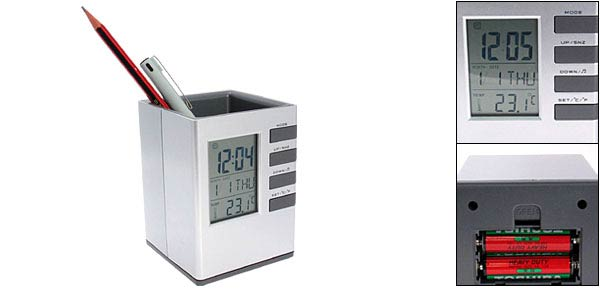 Stylish Office Desk Top Digital Alarm Clock Thermometer Pen Holder