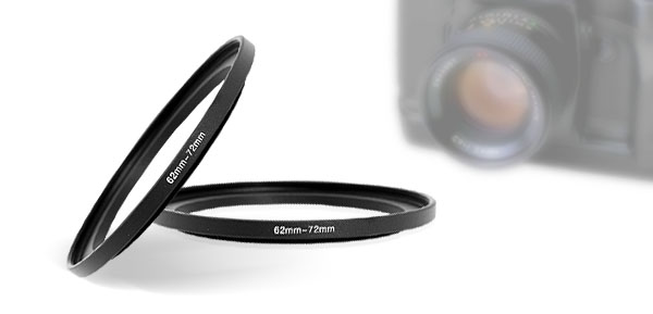 Black 62mm-72mm Lens Filter Step Up Ring Adapter for Camera