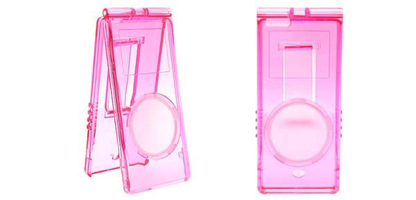 Crystal Hard Case Holder w/ Cord for iPod Nano Clear - Pink