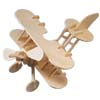 Toy - Classical Bi-Plane  Woodcraft Construction Kit Model Puzzle...