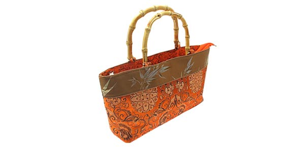 China Fever ORANGE Pouch Handbag Bag Bamboo Handle