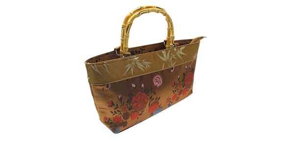 Chinese Emperor Flowers Embroider Pouch Handbag Brown