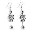 Silver Plated Polished Shine Beads in Cluster Earrings