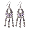 Royal Crystal Oval Teardrops Purple Dangle Earrings