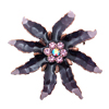 Summer Garden Olive Leaf Sunflower Crystal Brooch Black