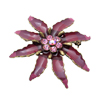 Summer Garden Olive Leaf Dark Pink Crystals Brooch Pin