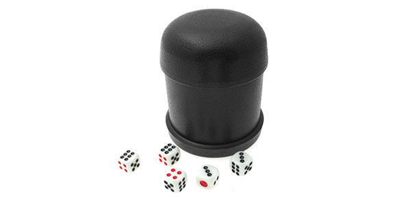 Black Deluxe Dice Cup with 5 Dices Pub Bar Fun Games