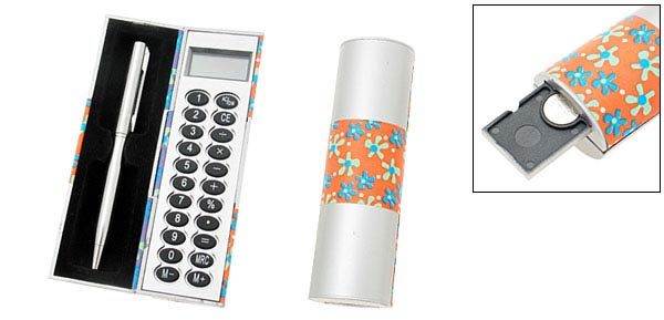 Elegant Pen & Calculator Box Set  - Orange & Silver/Purple & Silvery