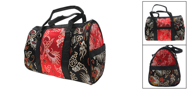 Chinese Phoenix Pattern Shoulder Travel Bag Red and Black