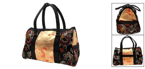 Charm Chinese Phoenix Pattern Embroidery Bling Shoulder Bag Golden