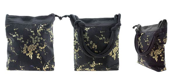 Simply Mixed Wintersweet Pattern Embroidery Lady Handbag Pouch Black and Gold