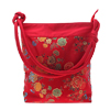 Mixed Floral Flower Pattern Embroidery Lady Handbag Pouch Bag Red