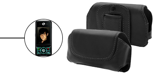 Faux Leather Case Holder for Motorola E6 - Black@